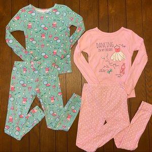 Carter's 4 Piece Long Sleeve Girl's Pajama Set